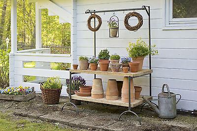 Blumenbank  Blumentreppe Pflanzentreppe Regal Eisen und Holz Garten Landhaus