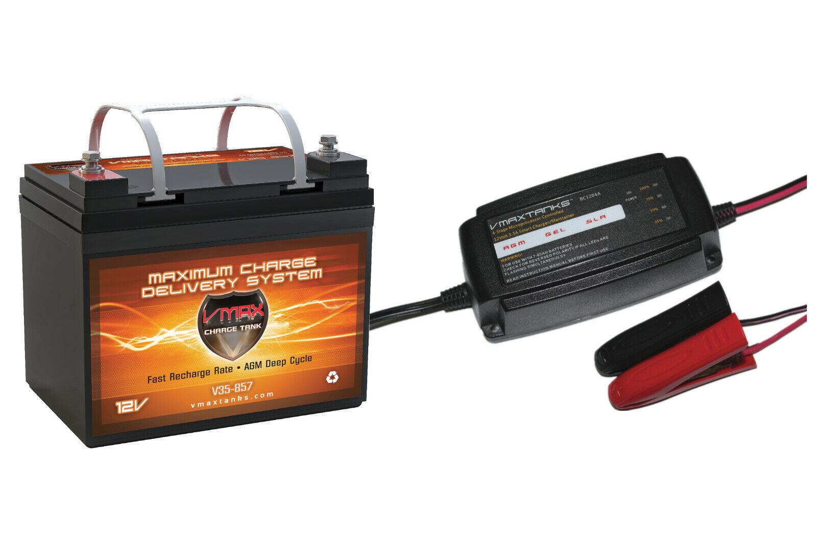 VMAX857 + BC1204: 12V 35Ah AGM SLA battery + Charger for Pow