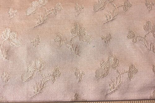 Antique French Floral Peachy Beige Lyon Silk Sample Fabric c1890~Home Dec~26X27