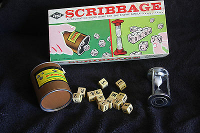 Vintage 1963 Scribbage Game  954 Complete  By Lowe Word Game For Entire Family