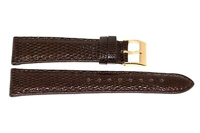 Gold Watch Dark Brown Strap (Genuine Lizard Dark Brown Gold Buckle Watch Band Strap Handmade In)