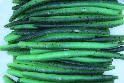 "5"" Watermelon / Chartreuse Stick Baits Wacky Plastic Worms Bass Fishing"