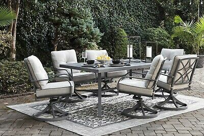 Bay Dining Table - Ashley Furniture Donnalee Bay Outdoor Lounge Dining Table Swivel 7 Piece Set
