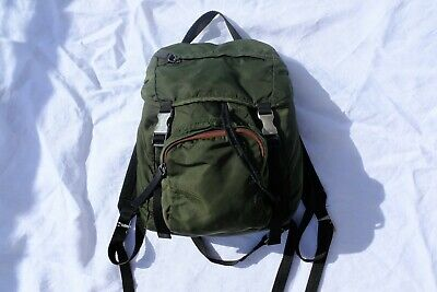 VINTAGE PRADA Sport Nylon Tessuto Backpack Military Green Women's AUTHENTIC