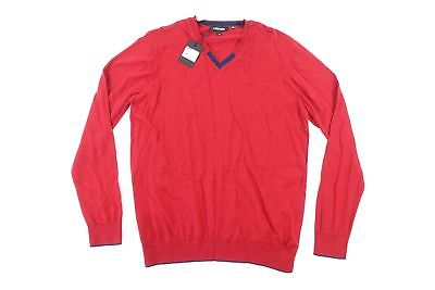 JARED LANG RED LARGE VNECK SWEATER MENS NWT NEW