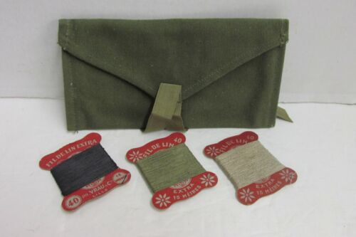 Post WW2 French Army Sewing Kit Pouch & Thread Field Repair 1950