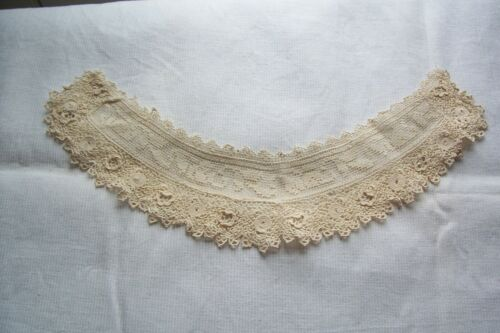 Vtg  Antique Edwardian Lace Collar Irish Crochet Filet Lace Dolls Crafts Sewing