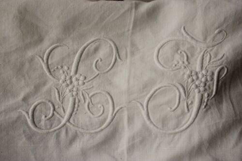 Vintage French linen sheet white trousseau LJ monogram 88X138 inches King size