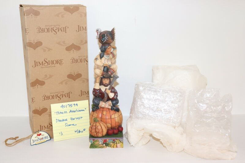Jim Shore 4017594 Totem Americana Stacked Harvest/Thanksgiving Scene W/Box* (#1)