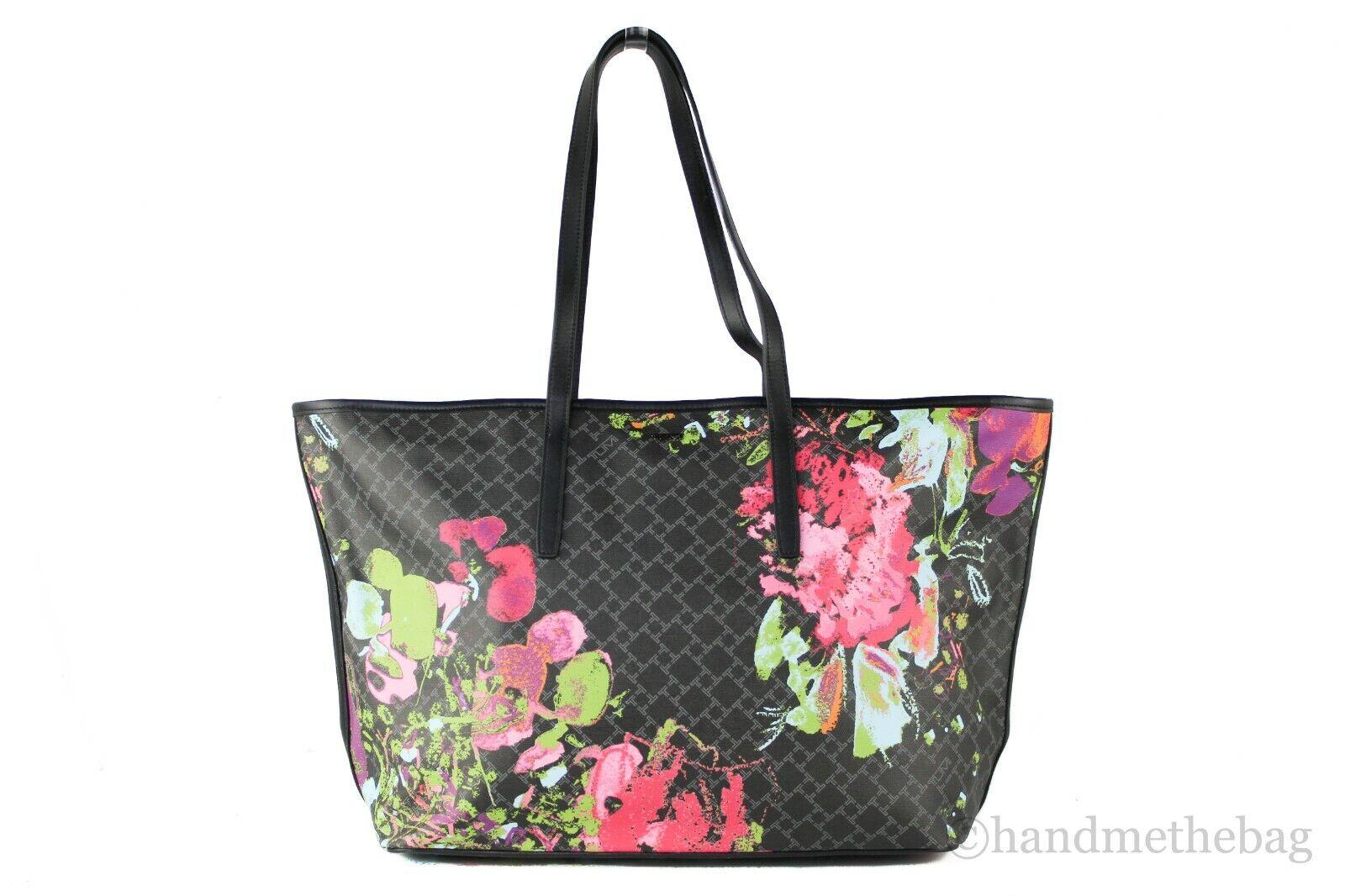 Tumi Everyday Large Coated Canvas Leather Shoulder Tote Bag Carryall Handbag Black Floral