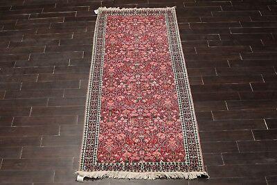 """3'3""""x9'9"""" Hand Knotted 200 KPSI Kashmir 100% Silk Persian Area Rug Runner"""