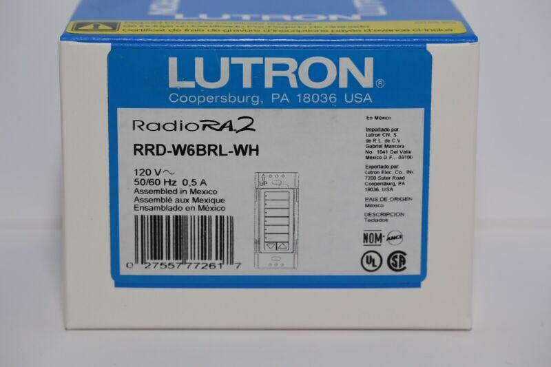 Lutron RRD-W6BRL-WH 6-button Keypad +Raise/Lower Radio Ra2 RadioRA RA NEW IN BOX