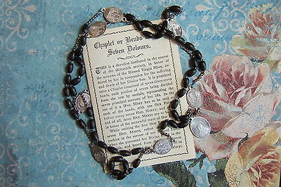 Vintage Catholic Chaplet Rosary Black Wood 7 Dolors Sorrows medals Mary Servite on Rummage