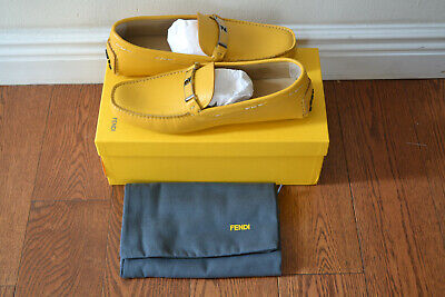 NEW NIB $590 Fendi - Sz 10 - Romano Driver Moccasin Loafers Shoes 100% Authentic