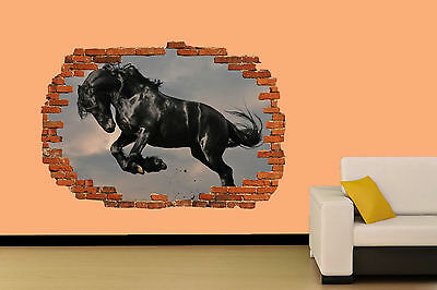 BEAUTIFUL BLACK HORSE ON FIELD WALL STICKER ROOM DECORATION DECAL MURAL A CLASS - Decorate A Classroom