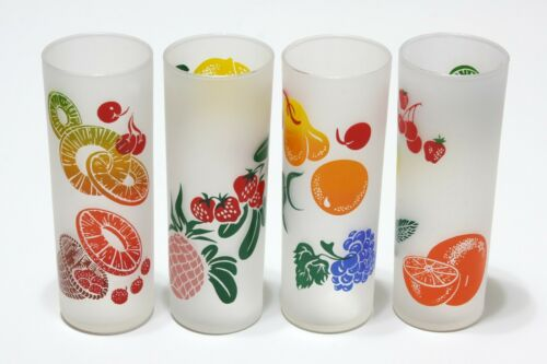 4 Vintage Federal Glass Fruit Print Tall Frosted Tumblers Highball Cocktail