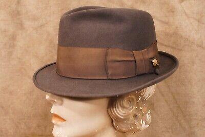 1950s Mens Hats | 50s Vintage Men's Hats 1950's Champ Fur Trilby Stingy Brim Hat Space Weight Feel The Felt 21 1/4