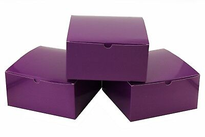10pc Holiday Christmas PURPLE 8 x 8 x 4 inches Paper Gift Boxes with Lids Boxes - Christmas Boxes With Lids