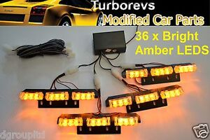 NEW FLASHING WARNING RECOVERY VEHICLE BEACON AMBER 36 LEDS STROBE LIGHTING 12V