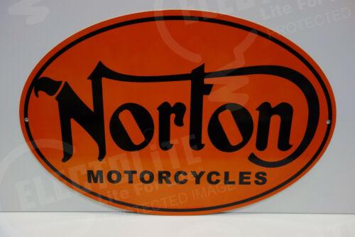 NOS NORTON MOTORCYCLE DEALER PARTS DEPARTMENT DIE CUT Rare ENAMEL OVULAR SIGN