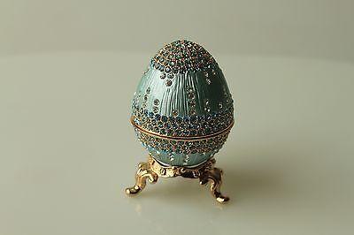 Swarovski Crystal Teal Blue Chandelier Egg Jewelry Box Trinket