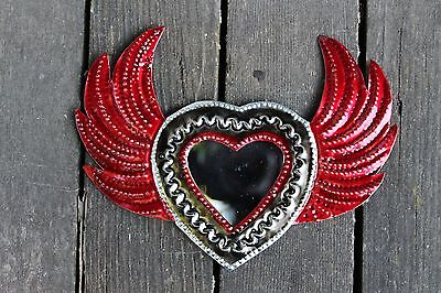 Valentines Day Heart Mirror, Mexican Tin Milagros - Stamped Tin & All Hand Made!