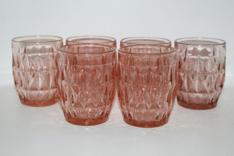 "SET OF 6 VINTAGE JEANNETTE WINDSOR PINK DEPRESSION GLASS 3-7/8"" FLAT TUMBLERS"