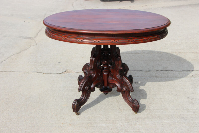 Magnificent Thomas Brooks Solid Walnut Large Victorian Center Table ~Ca.1870