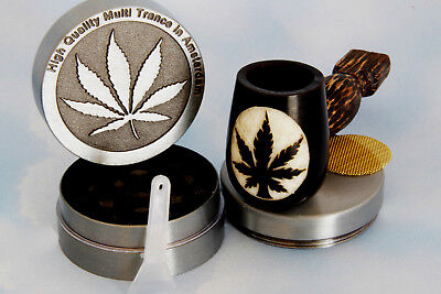 Plant Wood pipe hand Carved smoking Tobacco Medium Tagua Pot 3pc herb grinder