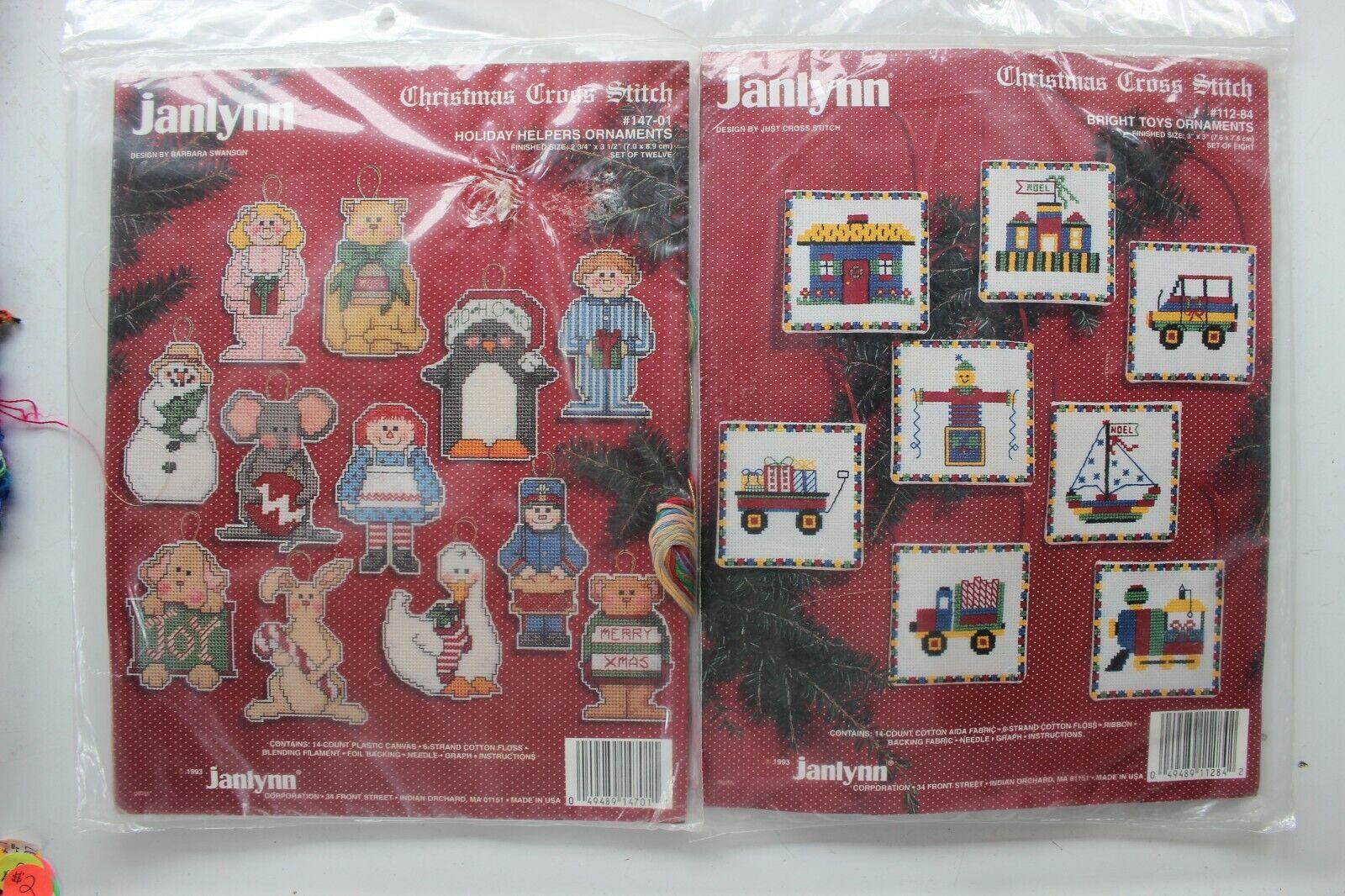 2 Janlynn Christmas Cross Stitch Ornament Kits.. Holiday Hel