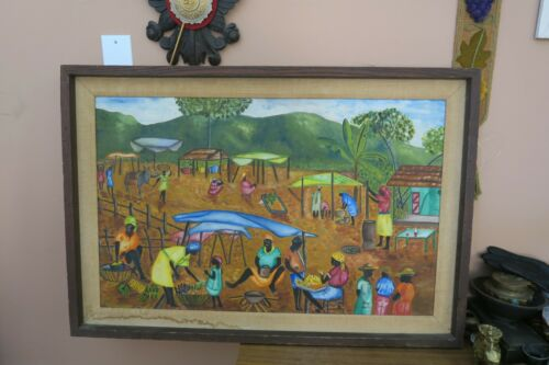 Vintage Haitian Oil Board Painting Signed TONY Village Life Ethnic Market Framed