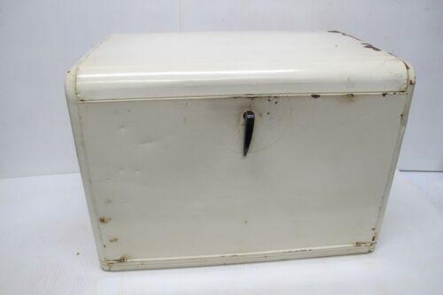 Vtg Original Painted Metal Tin Bread Box~Vents~Latch~2 Shelves~KREAMER~1936