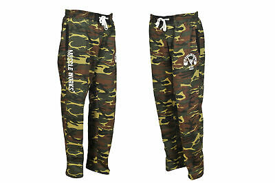 MENS BAGGY TROUSERS BODYBUILDERS CAMOUFLAGE YOGA COTTON ELASTICATED GYM PANTS