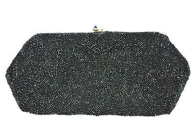 1940s Handbags and Purses History Authentic Vintage 1940s Josef Hand Beaded Black Clutch Evening Hand Bag Formal $49.77 AT vintagedancer.com