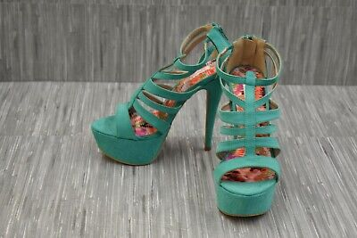 Qupid Confess-02 Faux Suede Strappy Platform Sandals, Women's Size 7, Green NEW