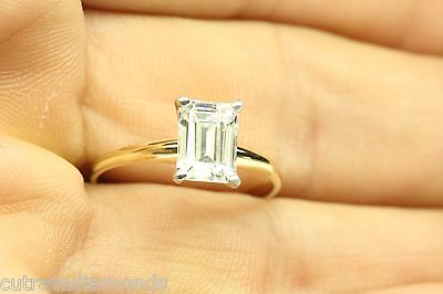 -  1.00 ct DIAMOND Emerald Cut Solitaire Engagement Ring 14k Solid Yellow Gold