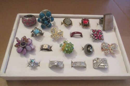 Huge lot of 18 Fashion Rings in Assorted Sizes and Colors $1 each