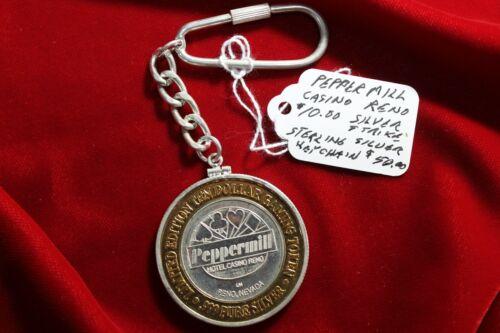 PEPPERMILL CASINO, $ 10 SILVER STRIKE STERLING SILVER KEY CHAIN, RENO NEVADA