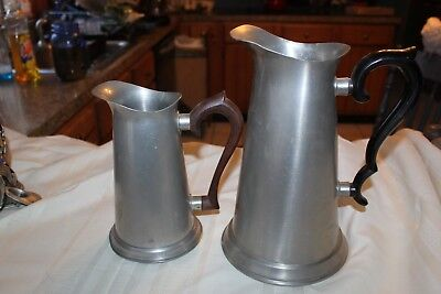 """MIXED LOT of 2 Pewter pitchers 7.25""""  Steiff  and 10.25"""" Colonial"""