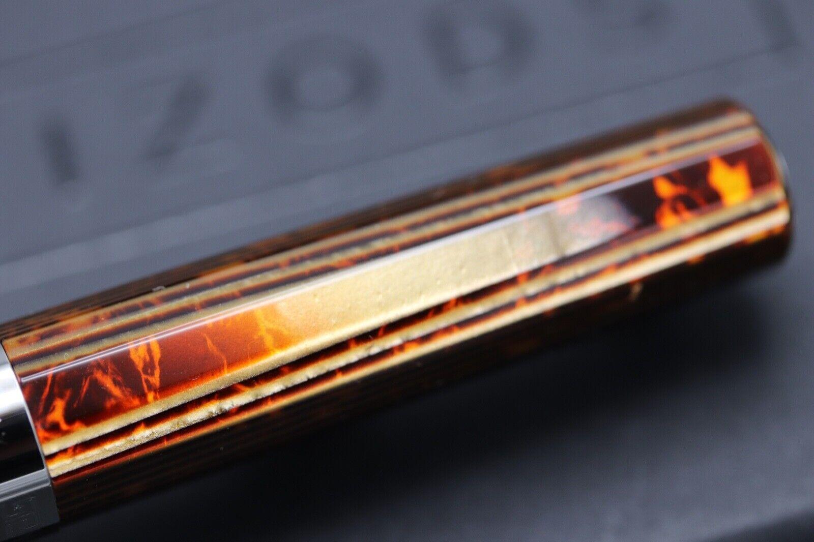 Omas Milord Arco Bronze Celluloid Ruthenium Trim Ballpoint Pen 4