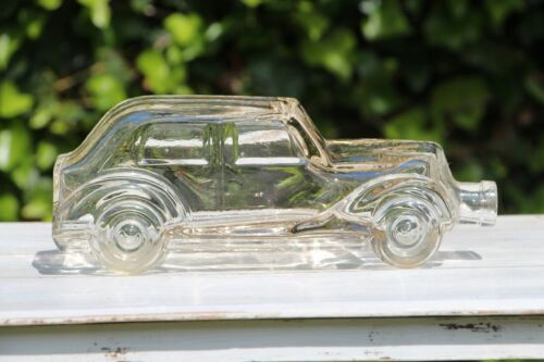 1940s Antique French Hand Made Blown Glass Bottle depicting a Car