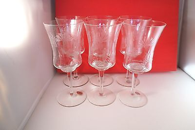 Lovely Set of 6 Roumania Romania Glass Wine Glasses Etched Flower Wheat