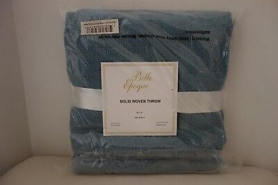 "Belle Epoque 50"" x 70""+4"" Fringe Solid Acrylic Throw, Blue"