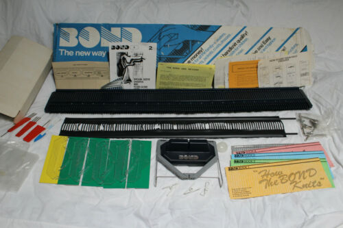 "Vtg BOND Knitting Machine 39"" Britain Pattern Booklets Sweater w Accessories Exc"