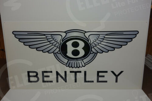 """LARGE BENTLEY DEALERSHIP WING SIGN. 24"""" X 47"""" VERY SCARCE! EXCELLENT CONDITION!"""
