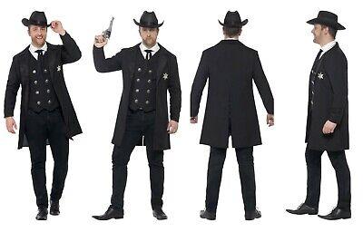 Mens *Plus Size* Wild West Sheriff Fancy Dress Cowboy Western Wyatt Earp Dodge  - Plus Size Wild West Costumes