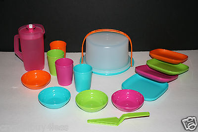 Tupperware TupperToys Mini Tea Set Cake Taker,Pitcher,Bowls,Plates,tumblers New