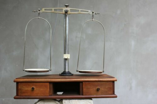 Vintage Balance Scale With Original Wooden Box Large Apothecary Scale with Weigh