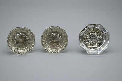 Lot of 3 Antique Glass Door Knobs, Two Match , All have screws, good - All Glass Door Hardware