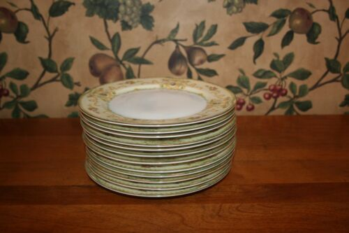 12-VINTAGE MEITO CHINA SALAD PLATES HAND PAINTED -MADE IN  JAPAN CIRCA 1930